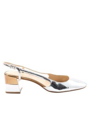 Zara Woman Slingback-Pumps silberfarben Casual-Look
