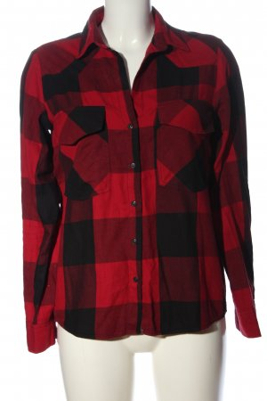 Zara Woman Holzfällerhemd rot-schwarz Allover-Druck Casual-Look