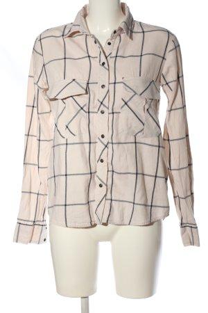 Zara Woman Holzfällerhemd creme-schwarz Karomuster Casual-Look