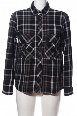 Zara Woman Holzfällerhemd schwarz-hellgrau Allover-Druck Casual-Look