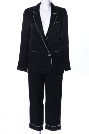 Zara Woman Tailleur pantalone nero motivo a pallini elegante