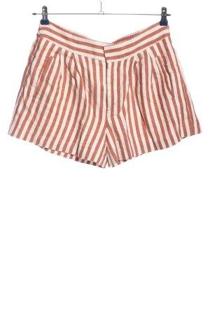 Zara Woman Shorts weiß-braun Streifenmuster Casual-Look
