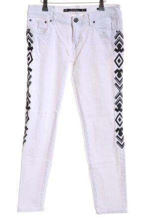 Zara Woman Hüftjeans weiß-schwarz abstraktes Muster Casual-Look