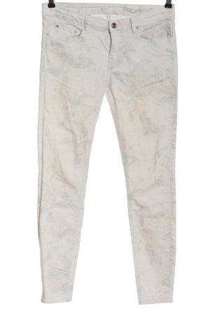 Zara Woman Jeans vita bassa verde-grigio chiaro motivo floreale stile casual