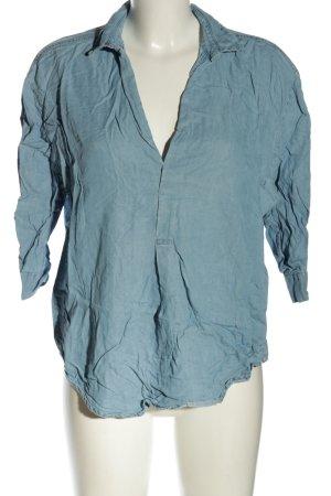 Zara Woman Blouse en jean bleu style décontracté