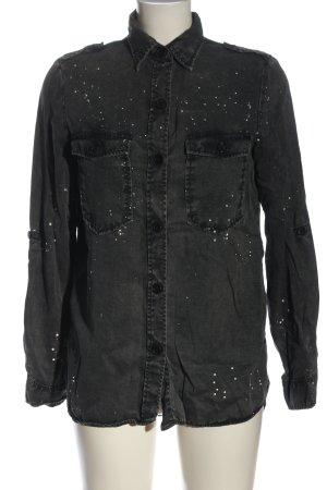 Zara Woman Spijkershirt zwart volledige print casual uitstraling