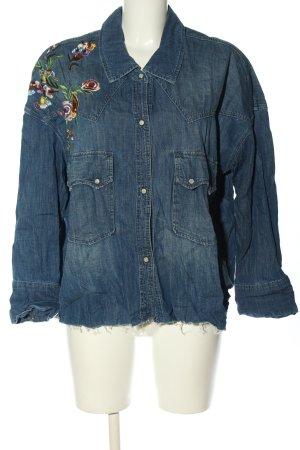 Zara Woman Chemise en jean motif de fleur style décontracté