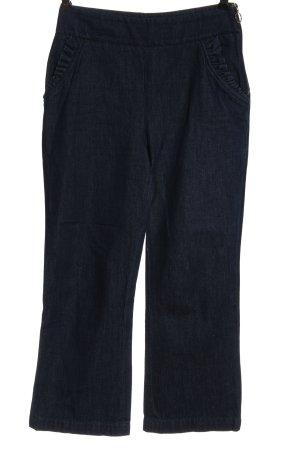 Zara Woman Jeansschlaghose blau Streifenmuster Casual-Look