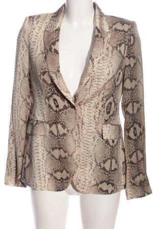 Zara Woman Jerseyblazer braun-wollweiß Animalmuster Casual-Look