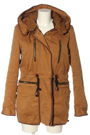 Zara Woman Kurtka z kapturem brązowy Pikowany wzór W stylu casual