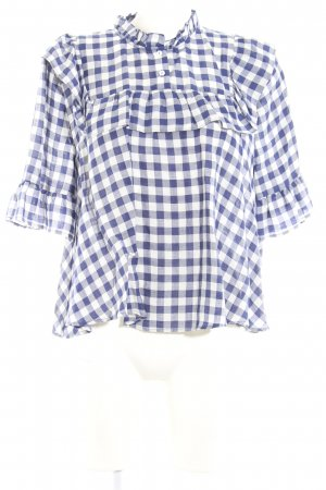 Zara Woman Karobluse weiß-dunkelblau Karomuster klassischer Stil