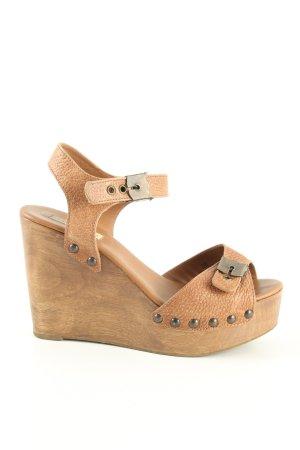 Zara Woman Keil-Pumps braun Casual-Look