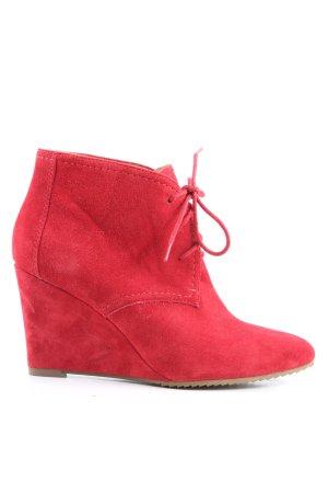Zara Woman Bottine à talon compensé rouge style décontracté