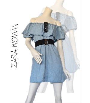 Zara Woman Kleid mit Volant Hellblau Gr. S 36 - Sehr gut