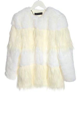 Zara Woman Kurtka ze sztucznym futrem biały-w kolorze białej wełny