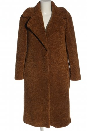 Zara Woman Płaszcz ze sztucznym futrem brązowy W stylu casual