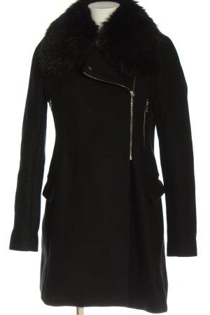 Zara Woman Jas van imitatiebont zwart casual uitstraling
