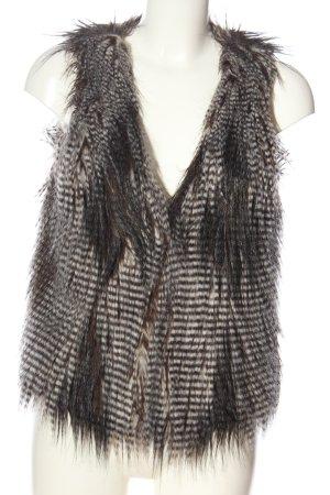 Zara Woman Vest van imitatiebont zwart-wolwit gestreept patroon