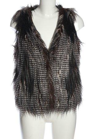 Zara Woman Kunstfellweste braun-wollweiß Streifenmuster Casual-Look