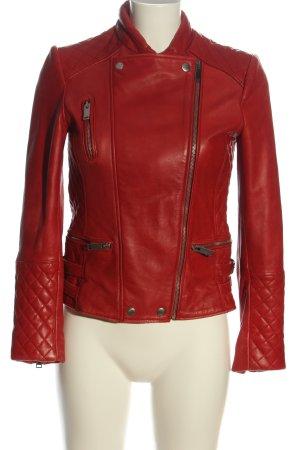 Zara Woman Kunstlederjacke rot Steppmuster Casual-Look