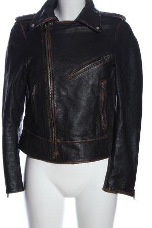Zara Woman Veste en cuir synthétique noir style décontracté