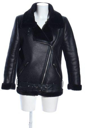 Zara Woman Kunstlederjacke schwarz Casual-Look