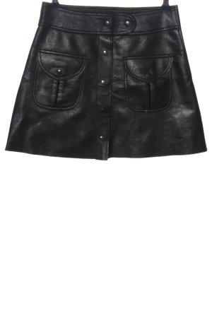 Zara Woman Rok van imitatieleder zwart casual uitstraling