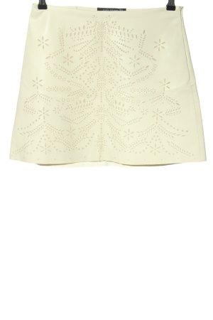 Zara Woman Falda de cuero de imitación crema estampado gráfico look casual