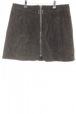 Zara Woman Kunstlederrock braun Casual-Look