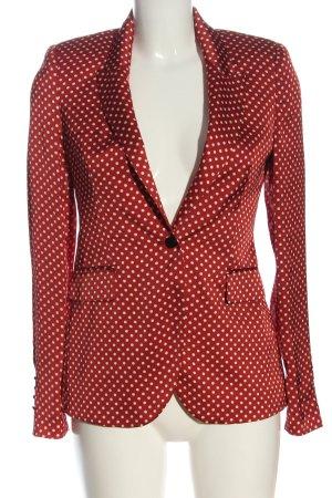 Zara Woman Kurz-Blazer rot-weiß Allover-Druck Business-Look