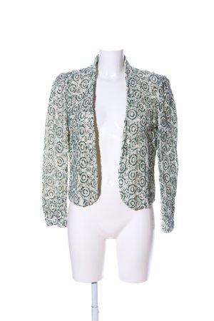 Zara Woman Kurz-Blazer weiß-grün abstraktes Muster Elegant