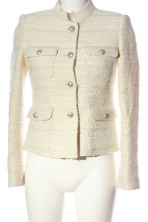 Zara Woman Kurz-Blazer wollweiß Streifenmuster Casual-Look