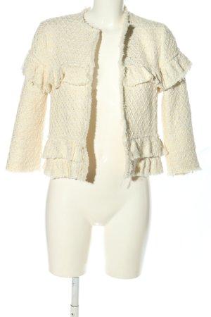 Zara Woman Kurz-Blazer wollweiß Webmuster Elegant