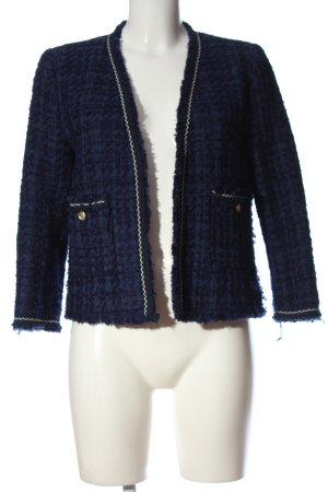 Zara Woman Kurz-Blazer blau Webmuster Business-Look