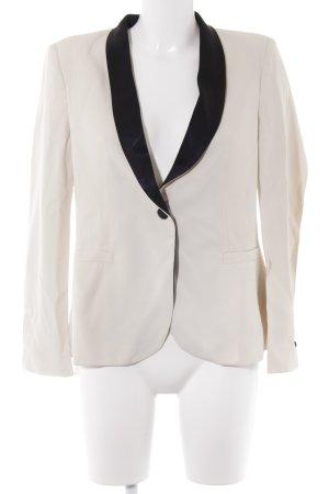 Zara Woman Kurz-Blazer creme-schwarz Business-Look
