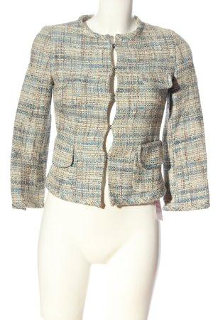 Zara Woman Kurz-Blazer wollweiß-blau meliert Casual-Look