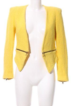 Zara Woman Kurz-Blazer gelb Webmuster Business-Look