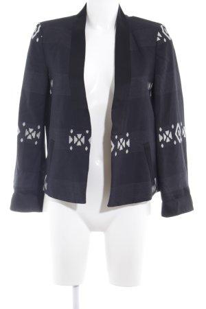 Zara Woman Kurz-Blazer schwarz-hellbeige abstraktes Muster Business-Look