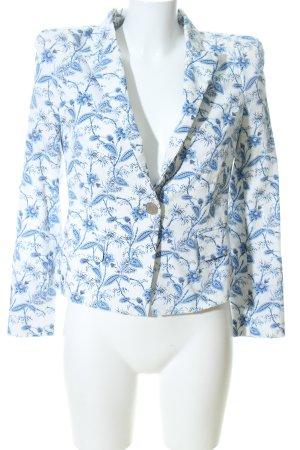 Zara Woman Kurz-Blazer weiß-blau Allover-Druck Business-Look