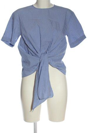 Zara Woman Kurzarm-Bluse blau-weiß Streifenmuster Casual-Look