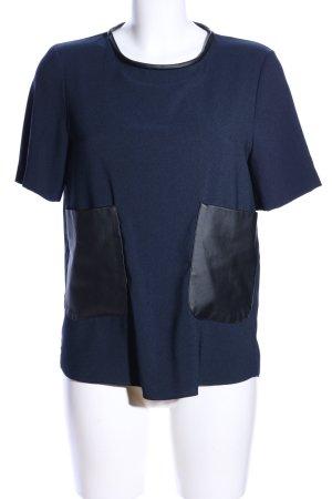 Zara Woman Kurzarm-Bluse blau-schwarz Casual-Look