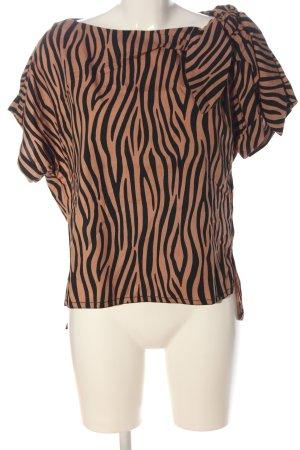 Zara Woman Kurzarm-Bluse nude-schwarz Animalmuster Casual-Look