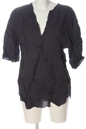 Zara Woman Kurzarm-Bluse schwarz Casual-Look