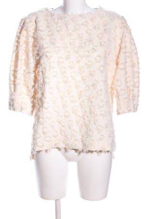 Zara Woman Kurzarm-Bluse wollweiß Casual-Look