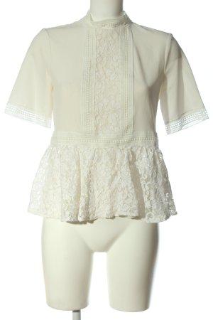 Zara Woman Kurzarm-Bluse wollweiß Elegant