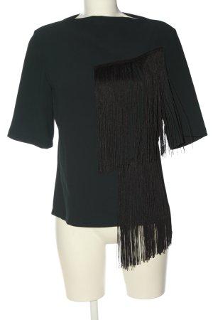 Zara Woman Kurzarm-Bluse grün-schwarz Elegant