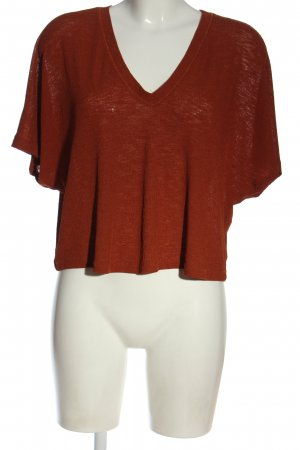 Zara Woman Koszulka z dekoltem w kształcie litery V czerwony W stylu casual
