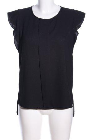Zara Woman Kurzarm-Bluse schwarz Business-Look
