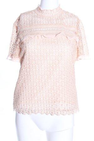 Zara Woman Kurzarm-Bluse creme Elegant