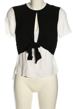 Zara Woman Kurzarm-Bluse weiß-schwarz Casual-Look